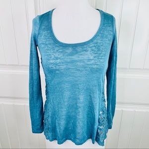 Rewind Turquoise Scoopneck Lace Side Tee XS Buckle
